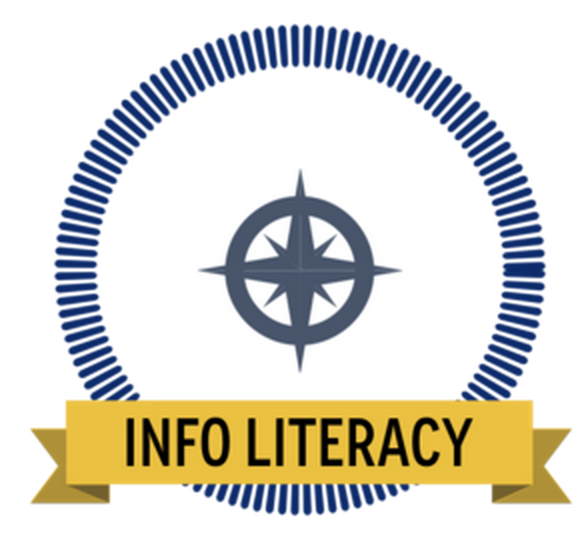 A digital badge with a compass and the words Info Literacy on a banner