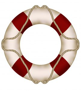 Graphic of a lifesaver raft with a rope around it