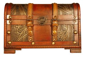 Photograph of a treasure chest that is shut